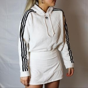 Urban outfitters adidas cropped white hoodie
